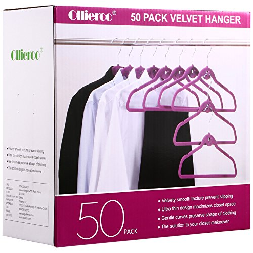 Ollieroo 50PK Heavy Duty Cascade Hangers Set Steel Swivel Hooks Ultra Thin Non-slip Velvet Coat Hangers Suit Hangers Set (Purple)