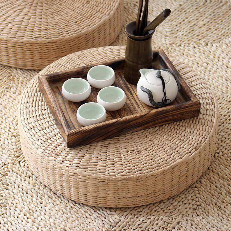 40cm Tatami Cushion Seat Mat Handmade Round Straw Woven Floor Yoga Tea Chairs