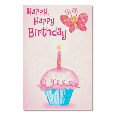 American Greetings Cupcake Birthday Card With Glitter Walmart