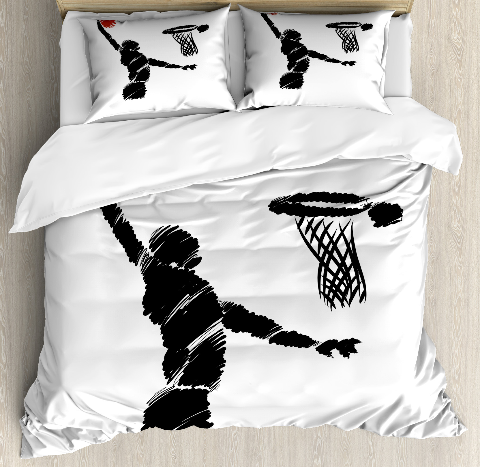Youth Duvet Cover Set, Freehand Drawing Style Basketball Player Jumping Athlete Training Artwork, Decorative Bedding Set with Pillow Shams, Cinnamon Black White, by Ambesonne