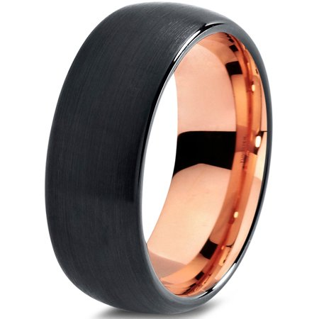 Tungsten Wedding Band Ring 10mm for Men Women Black & 18K Rose Gold Plated Domed Brushed Polished Lifetime Guarantee
