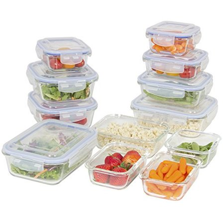 Best Choice Products 24-Piece All-Purpose Airtight Assorted Glass Food Preserving Storage Container Set w/BPA-Free Lids, 5 Sizes - Clear (4 Glass Gift Box)