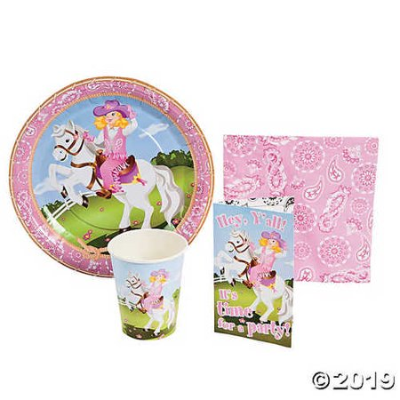 Pink Cowgirl Horse Party Supply Pack & Invites for 8 Guests - Includes 16 luncheon napkins, and 8 each of: invitations with envelopes, 9 party plates and 3 1/2 9 oz. cups