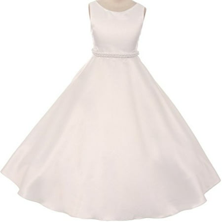 Big Girls' Satin Pearl Trim Wedding Holy First Communion Flower Girl Dress Ivory 10 (K38D6) - First Communion Present