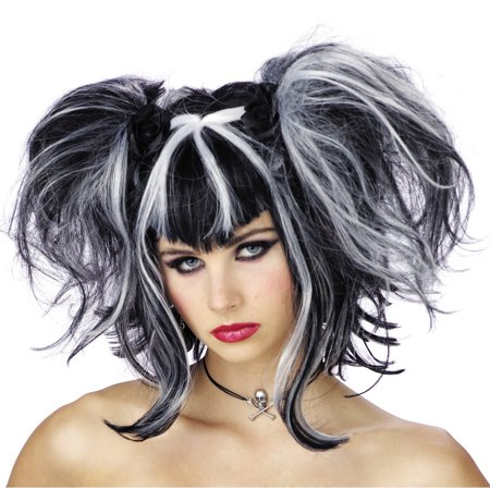 Black White Bad Fairy Wig Adult Halloween Accessory