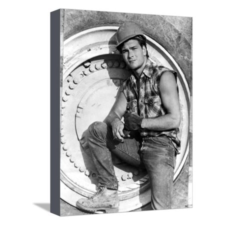 Patrick Swayze Posed in Construction Outfit Stretched Canvas Print Wall Art By Movie Star News