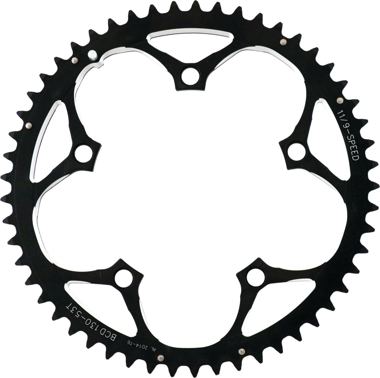 ACTION 130MM 53T BLK/SIL 3/32 RAMPED CHAINRING CR0375