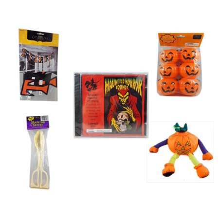 Halloween Fun Gift Bundle [5 Piece] - Trick or Treat Banner 42.5 x 5 Inches - Party Favors Pumpkin Candy Containers 6 Count - Haunted Horror Sounds CD - Skeleton Server  - Pumpkin Ornament Plush 7.5 for $<!---->