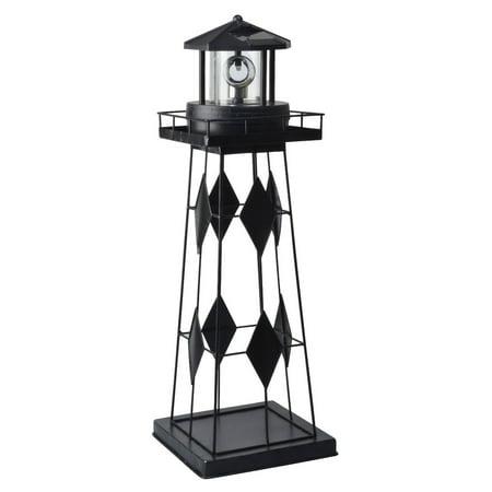 Moonrays 91526 Outdoor Metal Solar Powered LED Rotating Lighthouse Garden Light