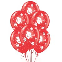 "Graduation Balloons 11in Premium Red with All-Over print white Grad Caps-Confetti and Streamers Pkg/25, Party Magic USA Brand Latex Balloons are ""Made in the USA"".., By PMU"