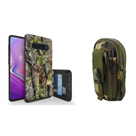 Beyond Cell Duo Shield Series Compatible with Samsung Galaxy S10+ Plus with Slim Hybrid Shockproof Wallet Case (Tree Camo), Tactical Holder Pouch (Jungle Camo) and Atom Cloth (Samsung Galaxy Duos Plus)