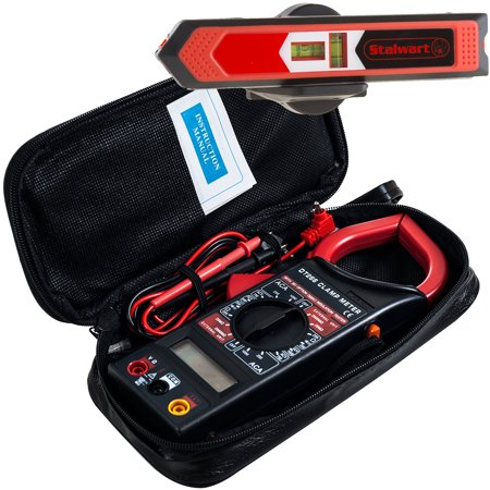 Special Buy: Multipurpose Laser Level, Point and Line Magnetic Level For Durable, Accurate Measuring and Alignment and Digital Clamp Electronic Volt Amp Meter Kit by Stalwart Digital Signal Level Meter