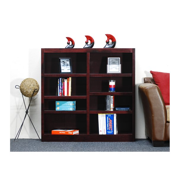 Concepts in Wood 8 Shelf Double Wide Wood Bookcase, 48 inch Tall - Cherry Finish