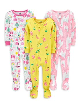 Child of Mine by Carter's Baby Toddler Girls 1-Piece Snug Fit Cotton Footie Sleeper Pajamas, 3pk