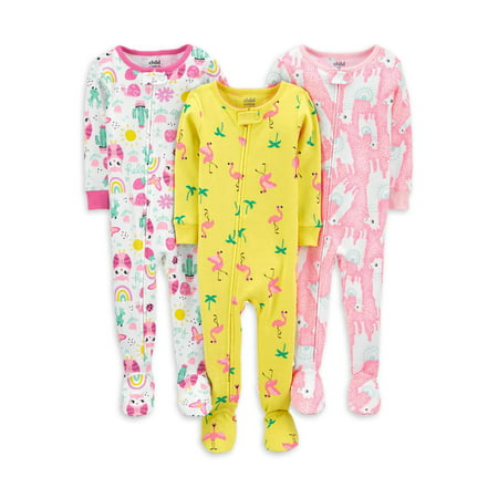 Child of Mine by Carter's Baby Toddler Girls 1-Piece Snug Fit Cotton Footie Sleeper Pajamas, 3pk Cotton Baby One Piece