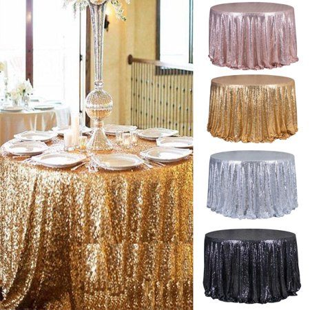 Asewin Round Tablecloth  47'' Sequin Banquet Wedding Party Picnic Circle Table Cloths Elegant Table Overlay Dia Round Banquet Table