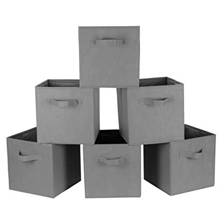 Foldable Fabric Storage Cubes Basket Bin 12 Pack Gray