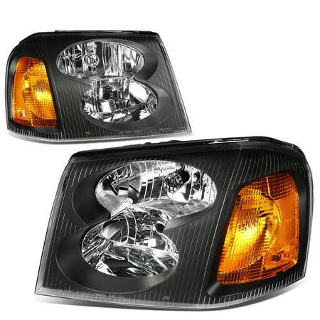 05 Gmc Safari Headlight (For 02-09 GMC Envoy Headlight Black Housing Amber Corner Headlamp STL XL 03 04 05 06 07 08 Left+Right )