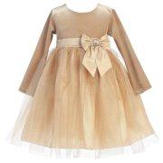 Little Girls Gold Velvet Bow Accent Glitter Tulle Occasion Dress 2T-6