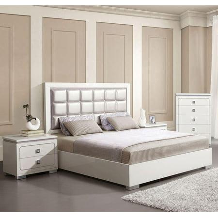 Pearl White High Gloss King Bedroom Set 3Pcs Acme Furniture 20247EK Valentina ()