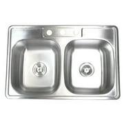 eModern Decor 33'' L x 22'' W Double Bowl Kitchen Sink