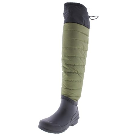 Tretorn Women's Harriet Nylon/Rubber Black / Olive Knee-High Rubber Rain Boot - 5M