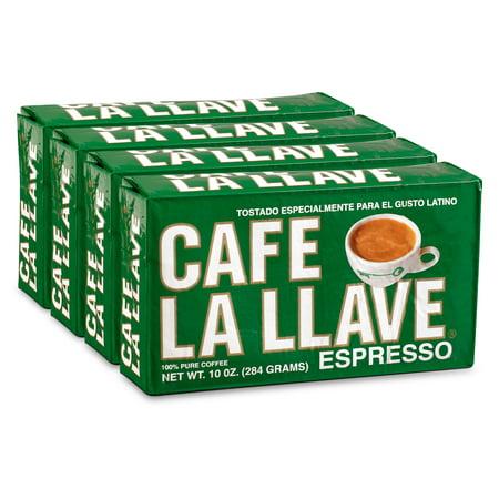 Cafe La Llave Espresso Ground Coffee, Dark Roast, 40 Ounce (4 x 10 Ounce Bricks) Espresso Roast Ground