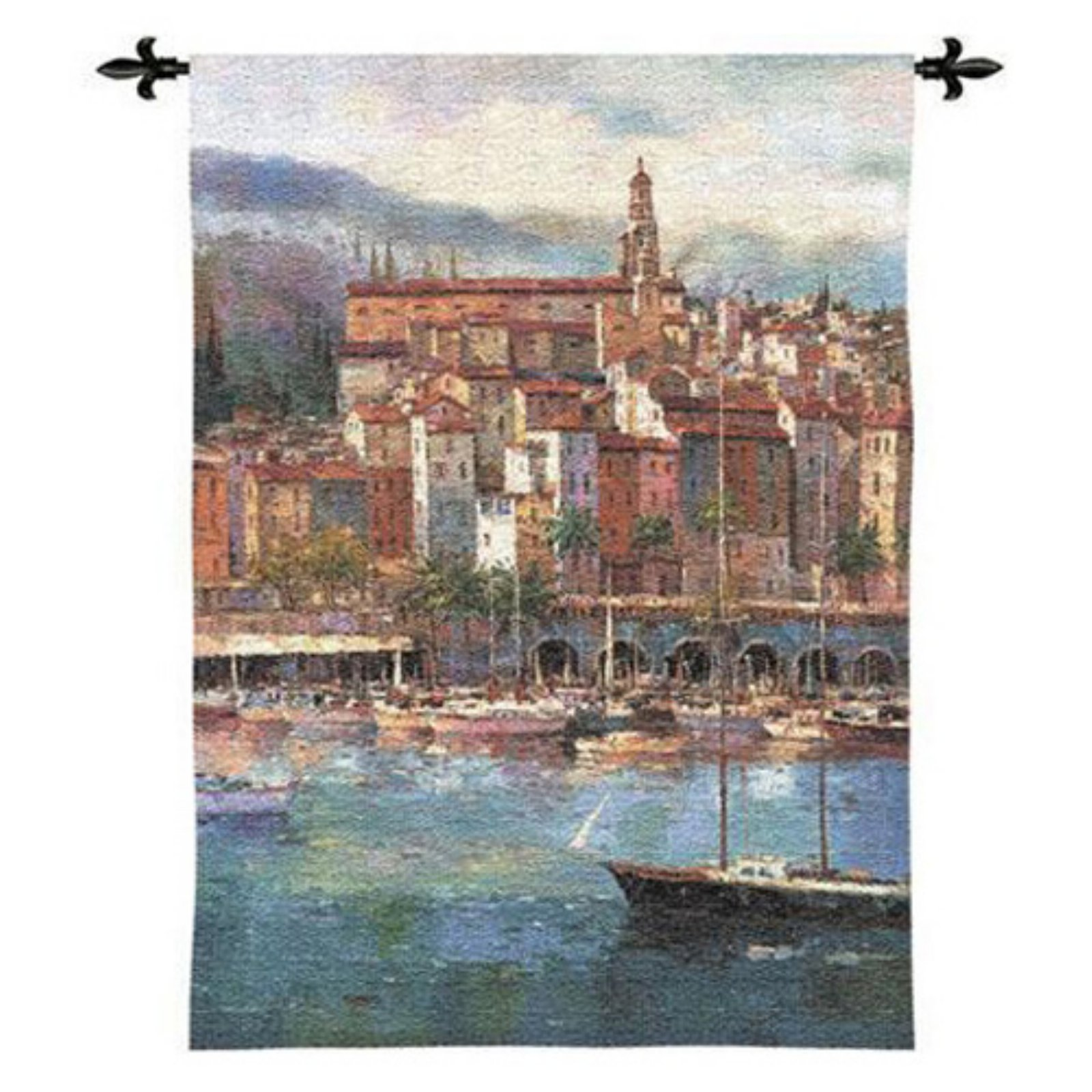 FineArtTapestries 2606-WH Mediterranean Harbor Wall Tapestry by Supplier Generic