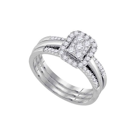 10kt White Gold Womens Diamond Cluster Bridal Wedding Engagement Ring Band Set 1/2 Cttw - image 1 de 1