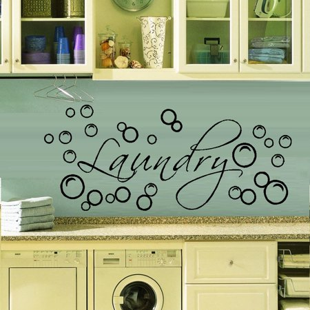 Decal ~ LAUNDRY with Bubbles #3: WALL DECAL, HOME DECOR, 12