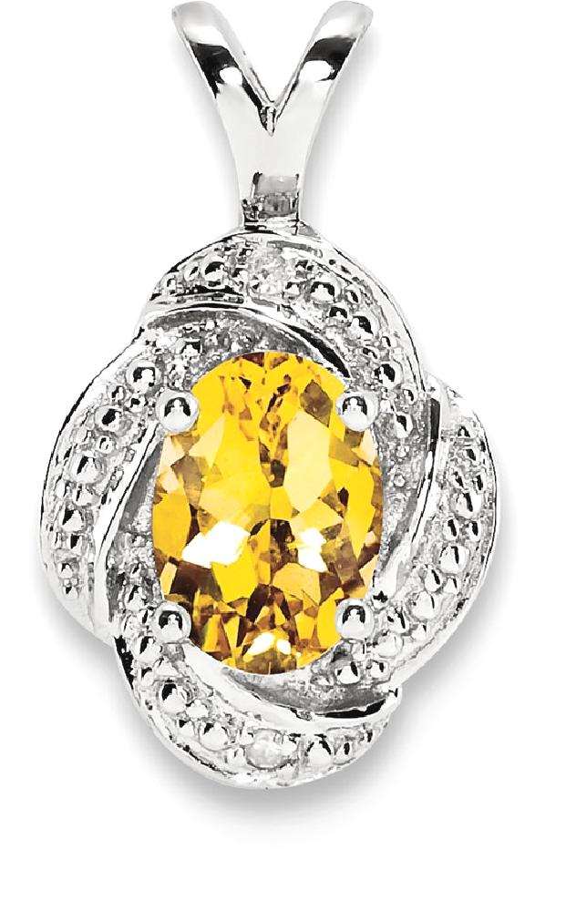 ICE CARATS 925 Sterling Silver Diamond Yellow Citrine Pendant Charm Necklace Birthstone November Set Fine Jewelry Ideal... by IceCarats Designer Jewelry Gift USA