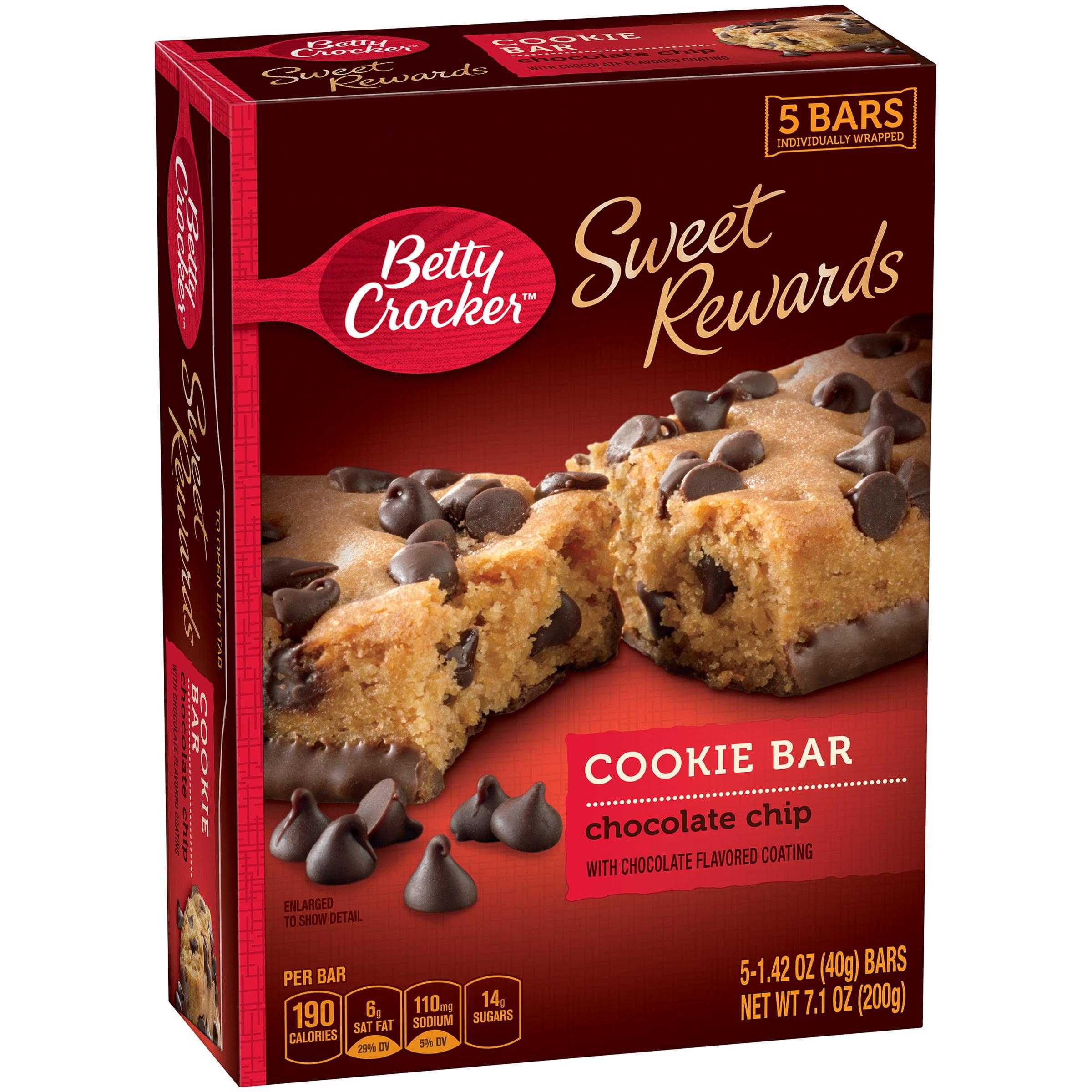 Betty Crocker Sweet Rewards Chocolate Chip Cookie Bars 5 ct Box ...
