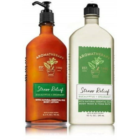 Bath & Body Works Aromatherapy Stress Relief - Eucalyptus + Spearmint Body Lotion, 6.5 Fl Oz + Body Wash & Foam Bath, 10 Fl Oz