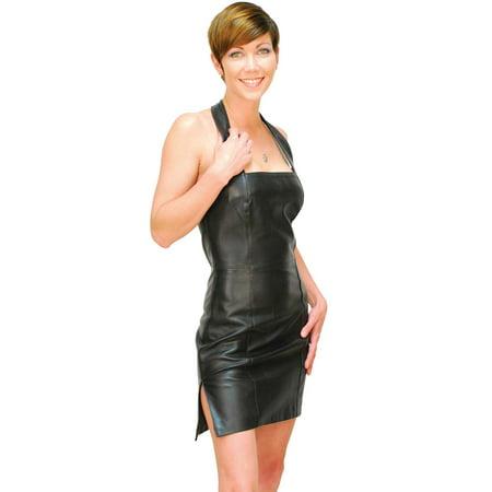 Combination Leather Halter - Black Lambskin Leather Halter Dress #LD75