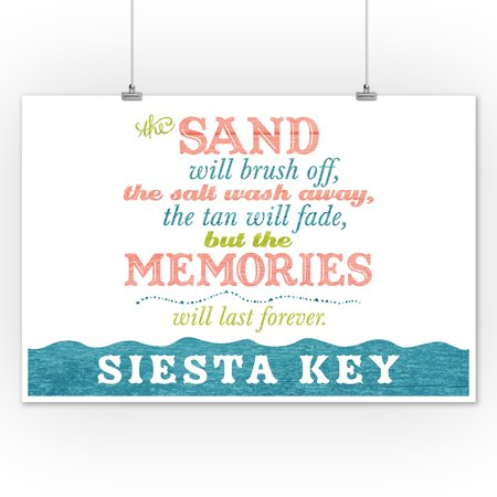 Siesta Key, Florida - Beach Memories Last Forever - Lantern Press Artwork (12x18 Art Print, Wall Decor Travel Poster) - Beach Lanterns