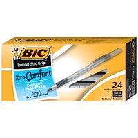 BIC Round Stic Grip Xtra Comfort Ball Pen, Medium Point (1.2 mm) -- Box of 24 Black Pens