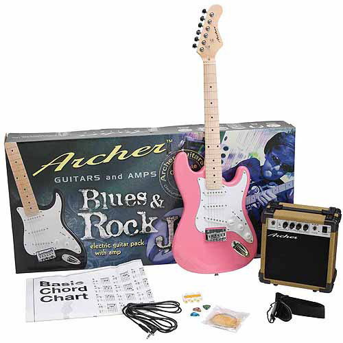 Archer SS10 Blues and Rock Jr. Electric Guitar Package, Pink