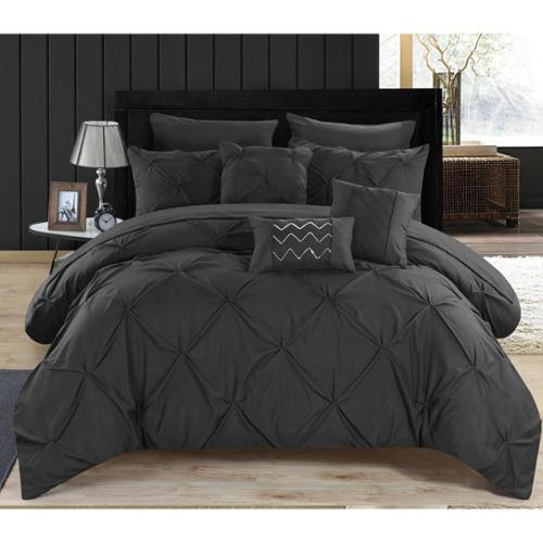 Chic Home 10-Piece Valentina Black Pinch Pleated Comforter Bed in a Bag Queen