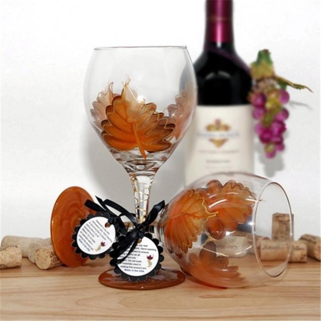 Judi Painted it LF-PO Leaf Wine Glass, Pure Orange