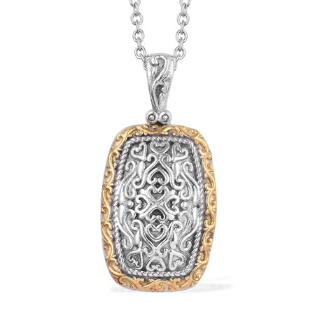 - 14K Yellow Gold and Platinum Over 925 Sterling Silver Fashion Chain Pendant Necklace 20