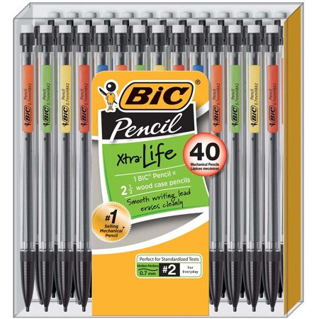 Auto Advance Mechanical Pencil - BIC Xtra Life Mechanical Pencil, Medium Point (0.7 mm), 40-Pack