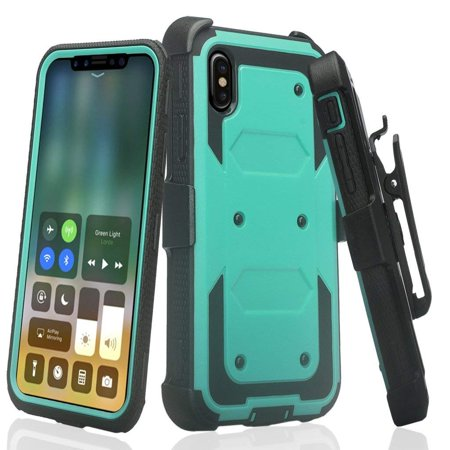 Compatible Apple iPhone XR Case, Air Cushion Corners Shockproof Case Belt Clip Holster & Built-in Screen Protector Full Covered Phone Cover iPhone XR 6.1 -
