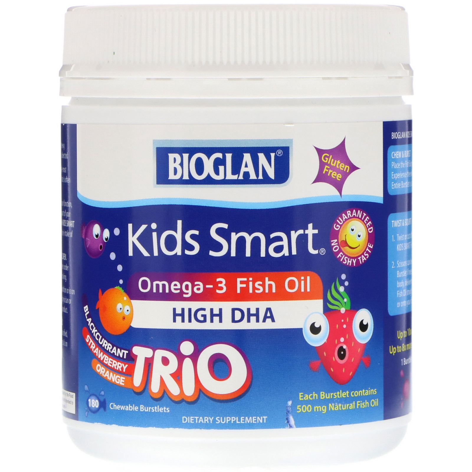 Bioglan  Kids Smart  Omega-3 Fish Oil  Trio Flavor  180 Chewable Burstlets