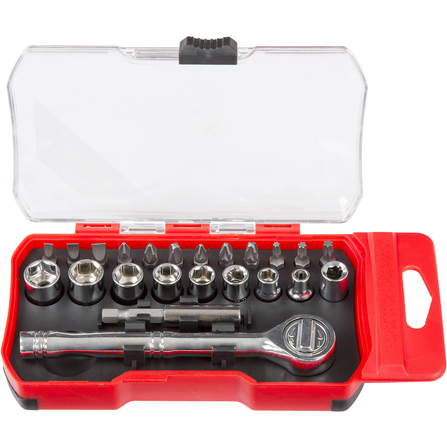 Stalwart Stubby Ratchet, Metric Socket, and Bit Set, 26-48 Piece