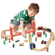 Wooden 50-Piece Train Set with Small Table Only At Walmart - Walmart.com