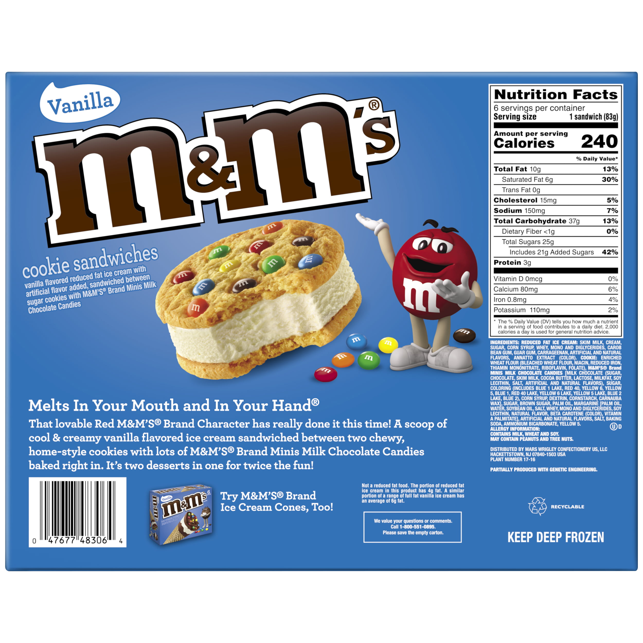 M M S Cookie Sandwiches With Vanilla Ice Cream 6 Ct Walmart Com Walmart Com