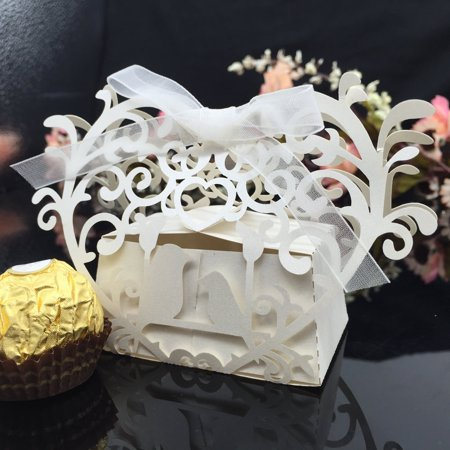 20pcs Romantic Mini DIY Candy Cookie Gift Box for Wedding Party with White Ribbon - Diy Valentine Box
