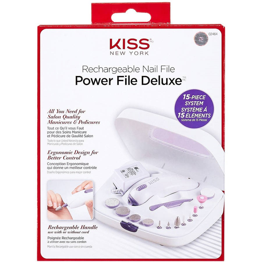 Kiss New York Power File Deluxe Rechargeable Nail File Set, 15 pc