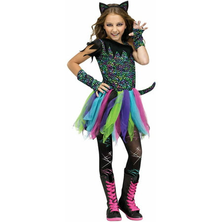 Fun World Rainbow Cat Child Halloween costume - Makeup For Cat Halloween Costume