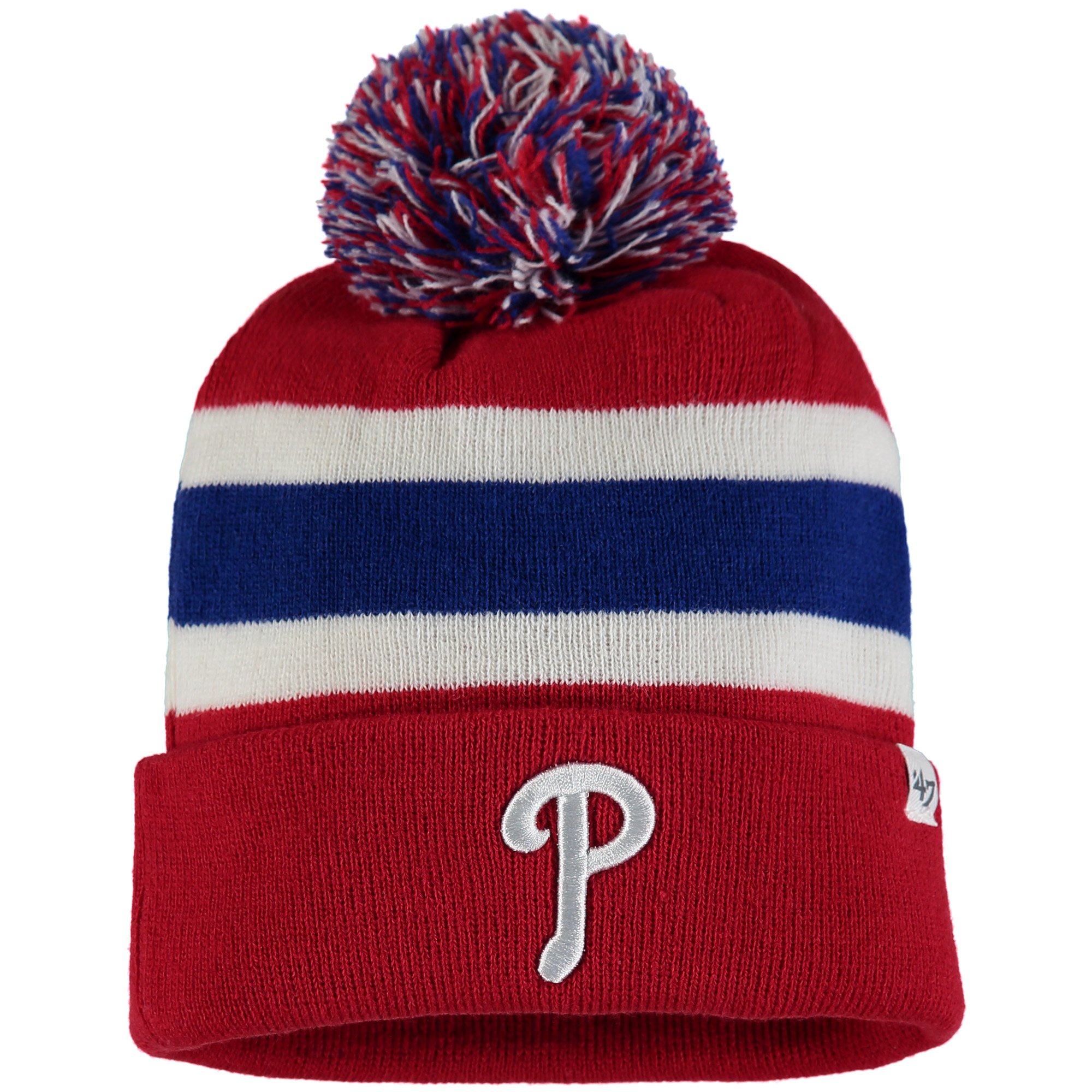 Philadelphia Phillies '47 Breakaway Cuffed Knit Hat with Pom - Red/Royal - OSFA